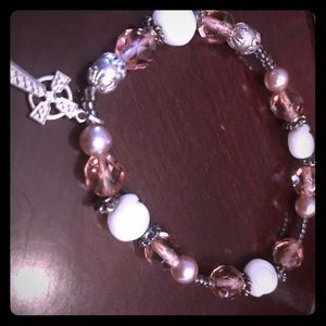 Other - Girls beaded bracelet with cross charm